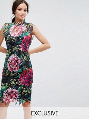 Paper Dolls High Neck Floral Crochet Lace Pencil Dress