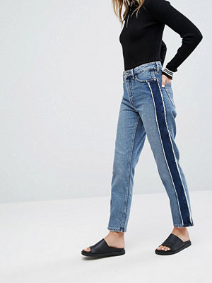 Monki Side Stripe Tapered High Waist Jeans