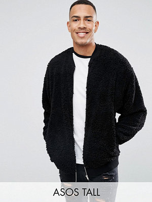 Bomberjackor - ASOS TALL Oversized Bomber Jacket In Borg