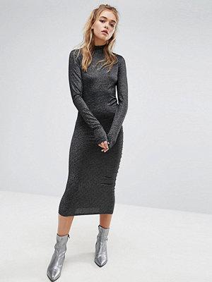 Cheap Monday High Neck Metallic Dress with Ruching