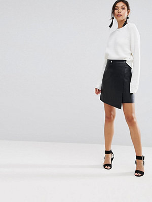 Warehouse Leather Look Wrap Front Skirt
