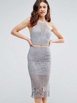 Girl In Mind Lexi Lace Strappy Midi Dress Grey