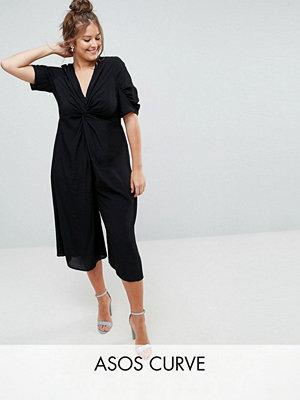 ASOS Curve Tea-jumpsuit med knytning fram