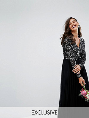 Maya Plunge Front Long Sleeve Maxi Dress In Tonal Delicate Sequin And Tulle Skirt