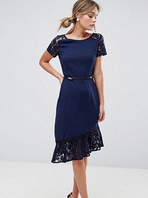 Paper Dolls Short Sleeve Lace Dress with Crochet Trim