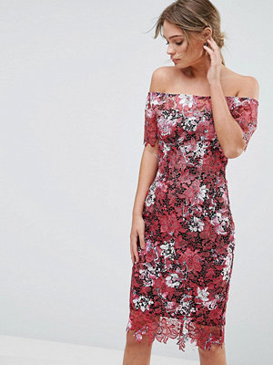 Paper Dolls Bardot Floral Midi Lace Dress