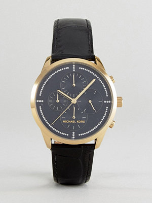 Michael Kors MK2686 Slater Chronograph Leather Watch In Black