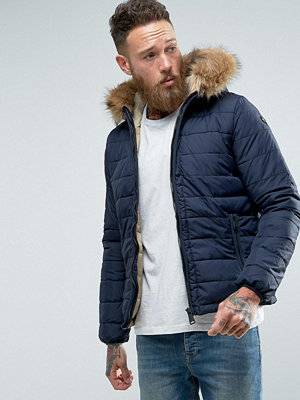 Bomberjackor - Schott Rocky 2 Puffer Bomber Hooded Detachable Faux Fur Trim Slim Fit in Navy