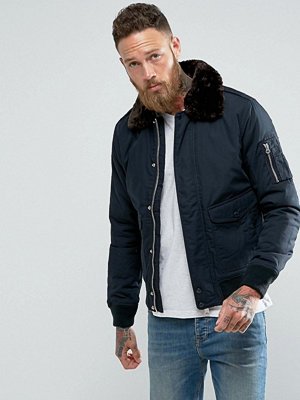 Bomberjackor - Schott Air Bomber Jacket Detachable Faux Fur Collar Slim Fit in Navy/Brown