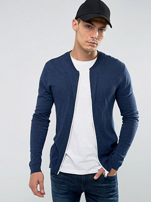 Bomberjackor - ASOS Knitted Muscle Fit Cotton Bomber In Navy With White Zip