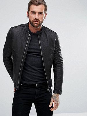 Skinnjackor - Hugo Link Brushed Suede Lamb Leather Biker Jacket in Black