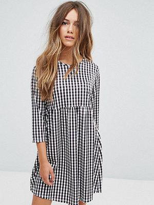 ASOS Petite Gingham Print Smock Dress With Long Sleeve