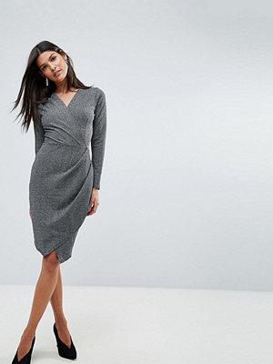 Closet London Closet V Cross Over Wrap Full Sleeve Dress