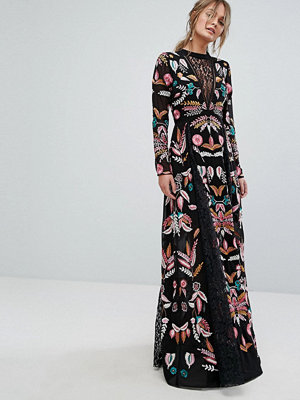 Frock and Frill Embroidered Maxi Dress With Lace Inserts