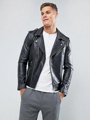 Skinnjackor - Selected Homme Leather Biker Jacket