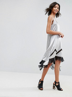 To Be Adored Ada Silk Asymmetric Slip Dress with Lace Hem