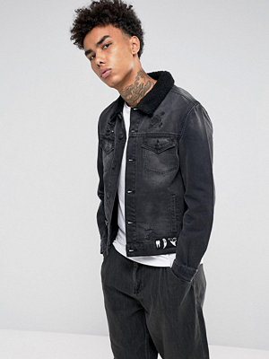 Cayler & Sons Denim Jacket In Black With Borg Lining
