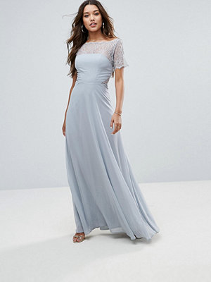 ASOS Lace Insert Panelled Maxi Dress - Dove grey