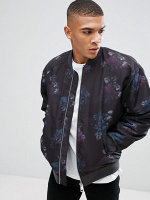 Bomberjackor - ASOS Bomber Jacket With Floral Print In Purple
