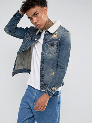 Cayler & Sons Denim Jacket In Blue With Borg Collar