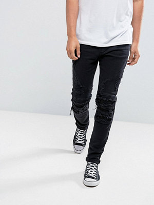 Cayler & Sons Skinny Biker Jeans In Black With Distressing