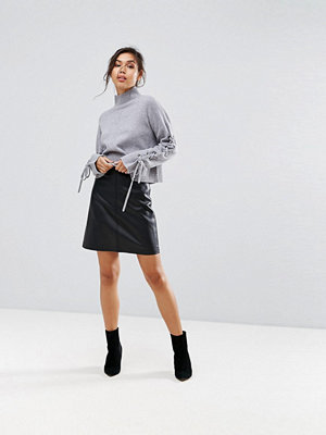 Warehouse Leather Look A-Line Mini Skirt