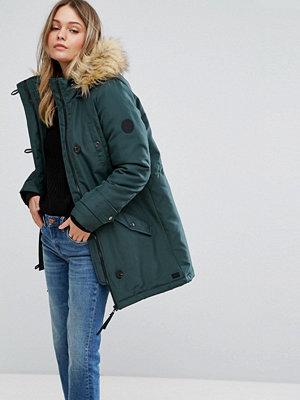 Vero Moda Faux Fur Hooded Parka - Green gables