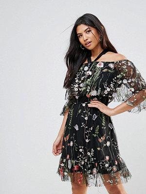 Club L Embroidery Detail Ruffle Dress