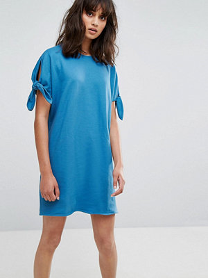 Weekday Jersey Dress with Tie Sleeves