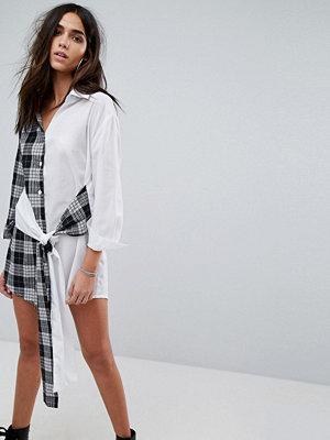 PrettyLittleThing Mixed Print Wrap Mini Shirt Dress