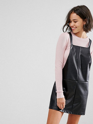 Pull&Bear Faux Leather Dungaree Dress