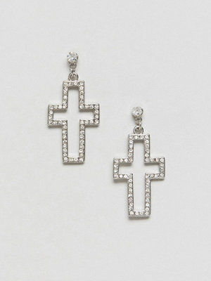 DesignB London örhängen Cut Out Cross Rhinestone Statement Earrings
