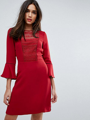 Warehouse Crochet Bib Fluted Sleeve Skater Dress