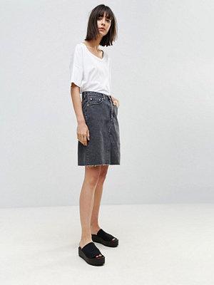 Weekday Denim Skirt with Frayed Hem