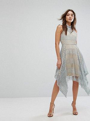 Girl In Mind Lola High Neck Crochet Hanky Hem Skater Dress Grey