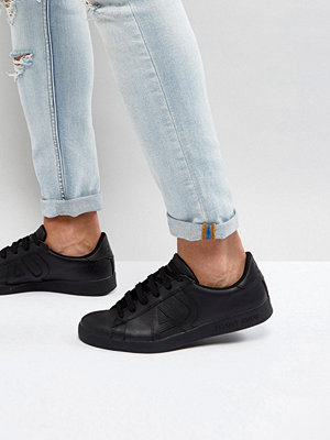 Sneakers & streetskor - Armani Jeans Leather Logo Trainer in Black