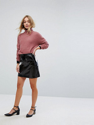 Oasis Patent A-Line Mini Skirt
