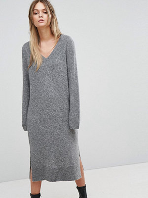 Selected Knitted Deep V-Neck Dress