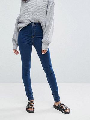 Noisy May Blå jeans med hög midja och smal passform