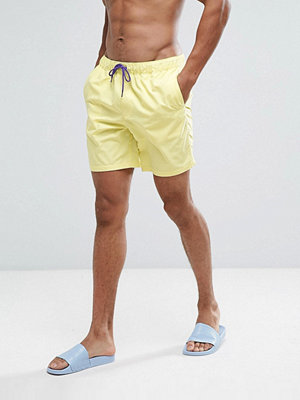 Badkläder - ASOS Swim Shorts In Yellow With Purple Contrast Drawcords Mid Length