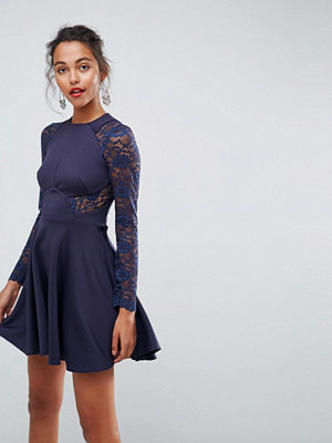 ASOS Premium Mini Scuba Skater Dress with Lace Sleeves - Royal navy