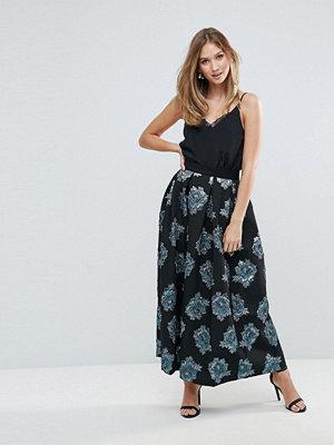 Closet London Closet Floral Jacquard Pleated Long Skirt