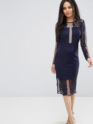 Ax Paris Navy Long Sleeve Lace Midi Dress