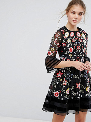 Frock and Frill Premium Embroidered Mini Dress with Exaggerated Sleeve