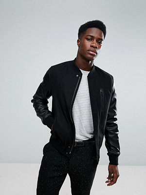 Bomberjackor - Stradivarius Bomber Jacket With Faux Leather Sleeves In Black