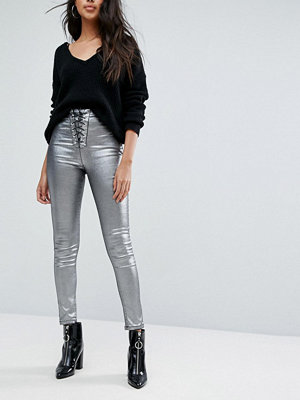 Missguided Coated Lace Up Skinny Jean