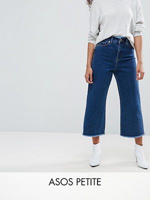 ASOS Petite Wide Leg Jeans With Raw Waistband