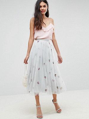 ASOS Embroidered Tulle Midi Skirt