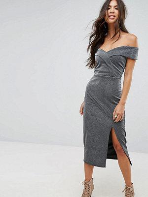 Outrageous Fortune Bardot Pencil Midi Dress with Split