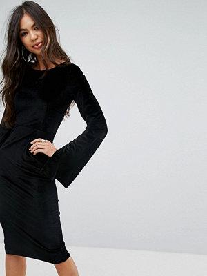 Outrageous Fortune Velvet Midi Pencil Dress With Split Sleeve Detail